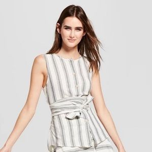 Who What Where Stripped Wrap Top